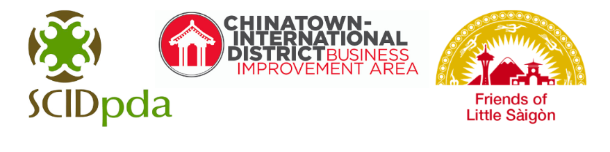 Three logos Relief Fund Organizers: Seattle Chinatown International District Preservation and Development Authority, Chinatown International District Business Improvement Area, and Friends of Little Saigon.